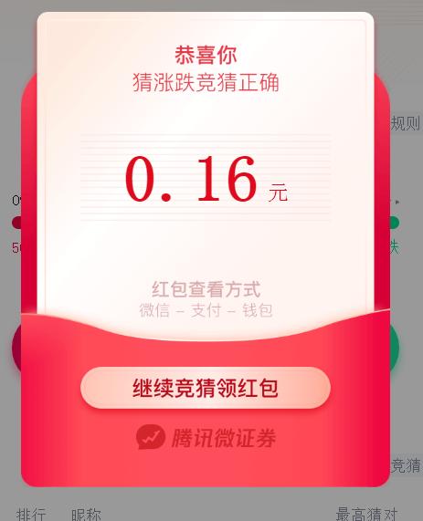 腾讯微证券猜涨跌领微信红包每天赢取现金奖励 小编实测0.16元