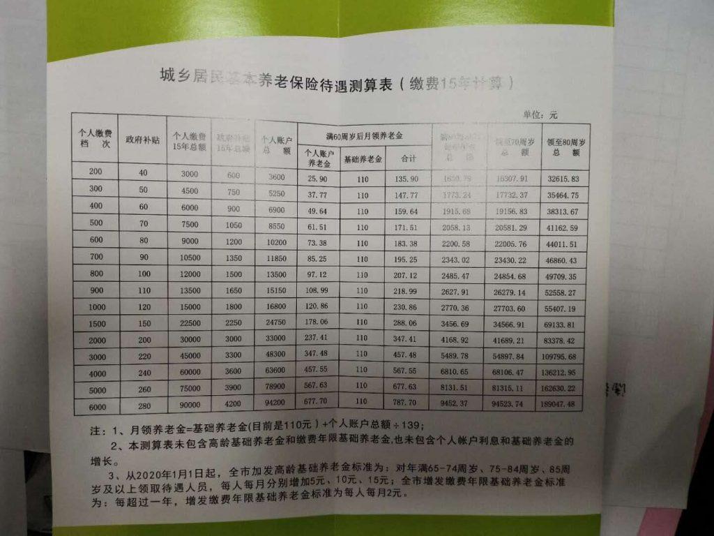 """020城乡居民基本养老保险待遇测算表(按缴费15年计算)"""""""